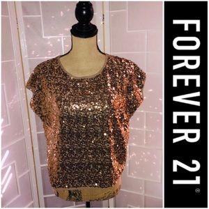 Forever 21 Gold Sequin Short Sleeve Blouse